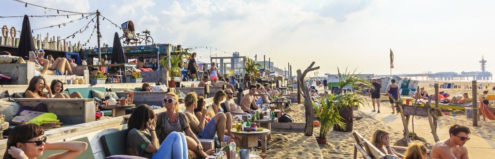 Visitors enjoying Scheveningen beach