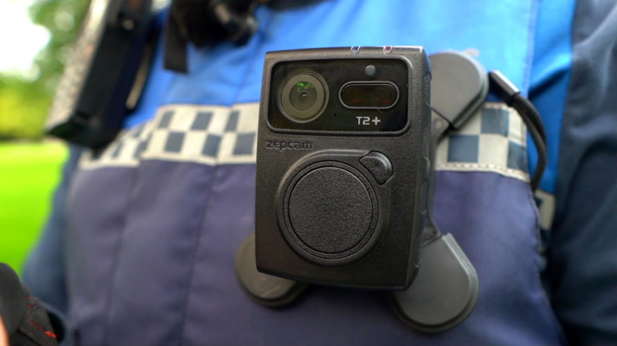 Bodycam fixed to the uniform of an enforcer