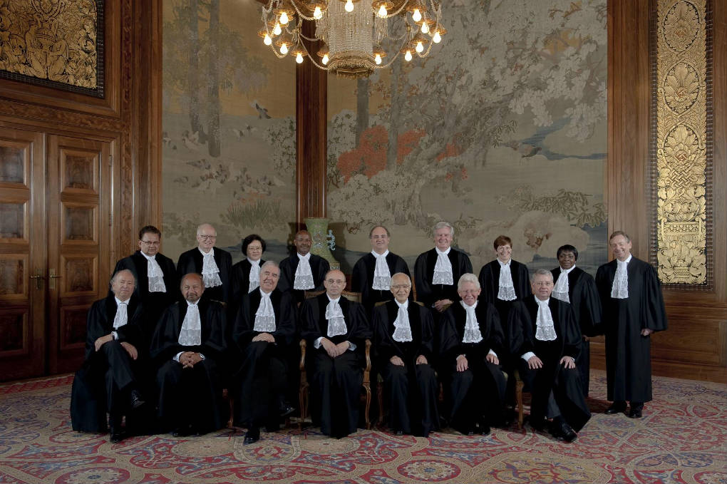 Members of the International Court of Justice. Photograph: ICJ-CIJ-UN Photo, Rob Ris, Max Koot Studtio, July 2012, Courtesy of the ICJ. All rights reserved